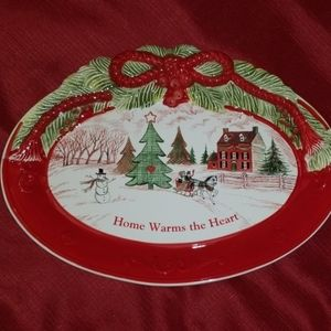 🎄Fitz & Floyd Home Warms the Heart Cookie Platter
